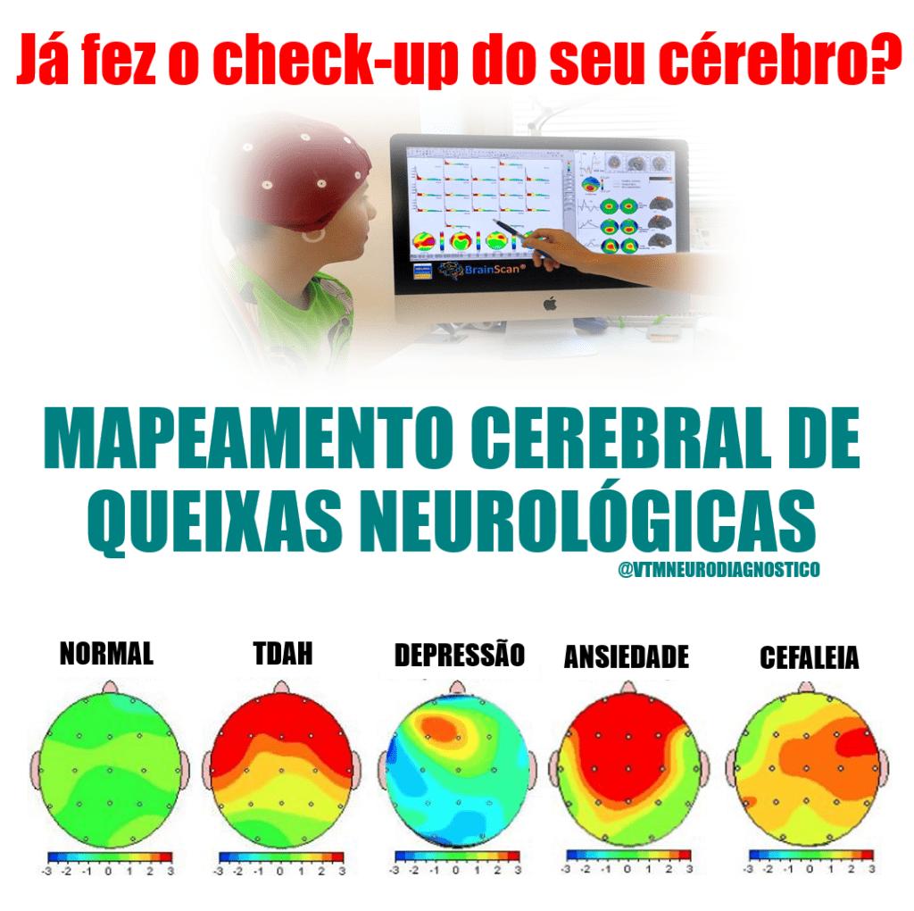 Mapeamento Cerebral de Queixas Neurológicas. VTM Neurodiagnóstico - Tratamentos e Diagnósticos em Neurologia e Saúde Mental.